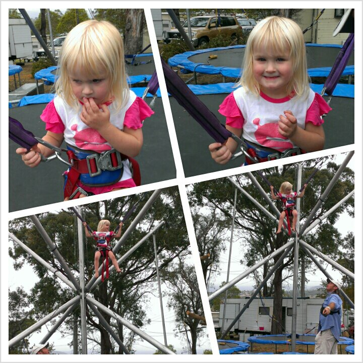 "Bungee Trampoline, she was a bit scared at first but once she got going wanted to go ""Super High""."