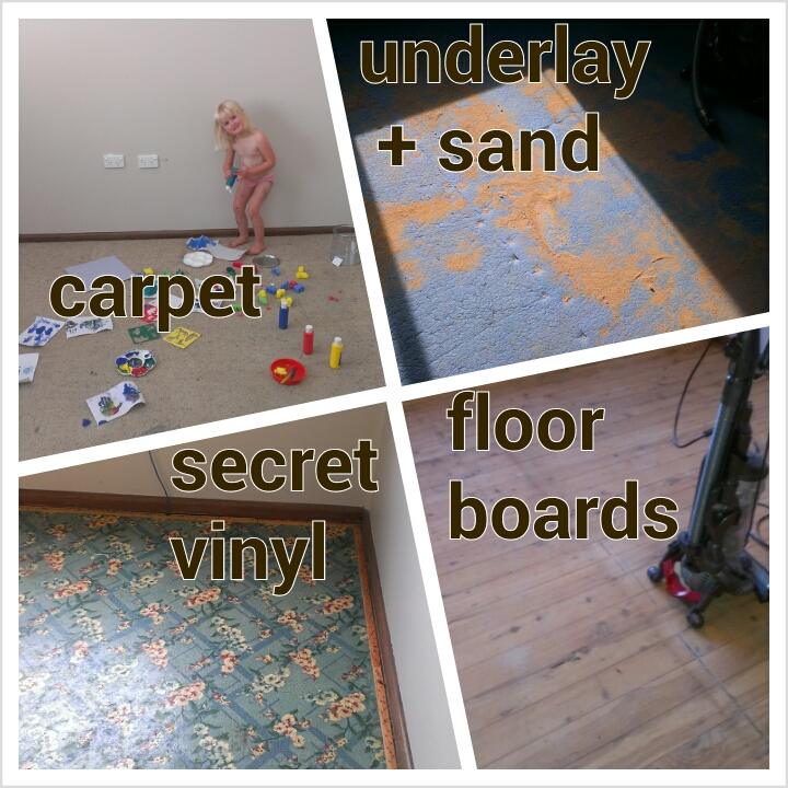 Miss 3 playing Pro Hart before the carpet and other layers get removed.