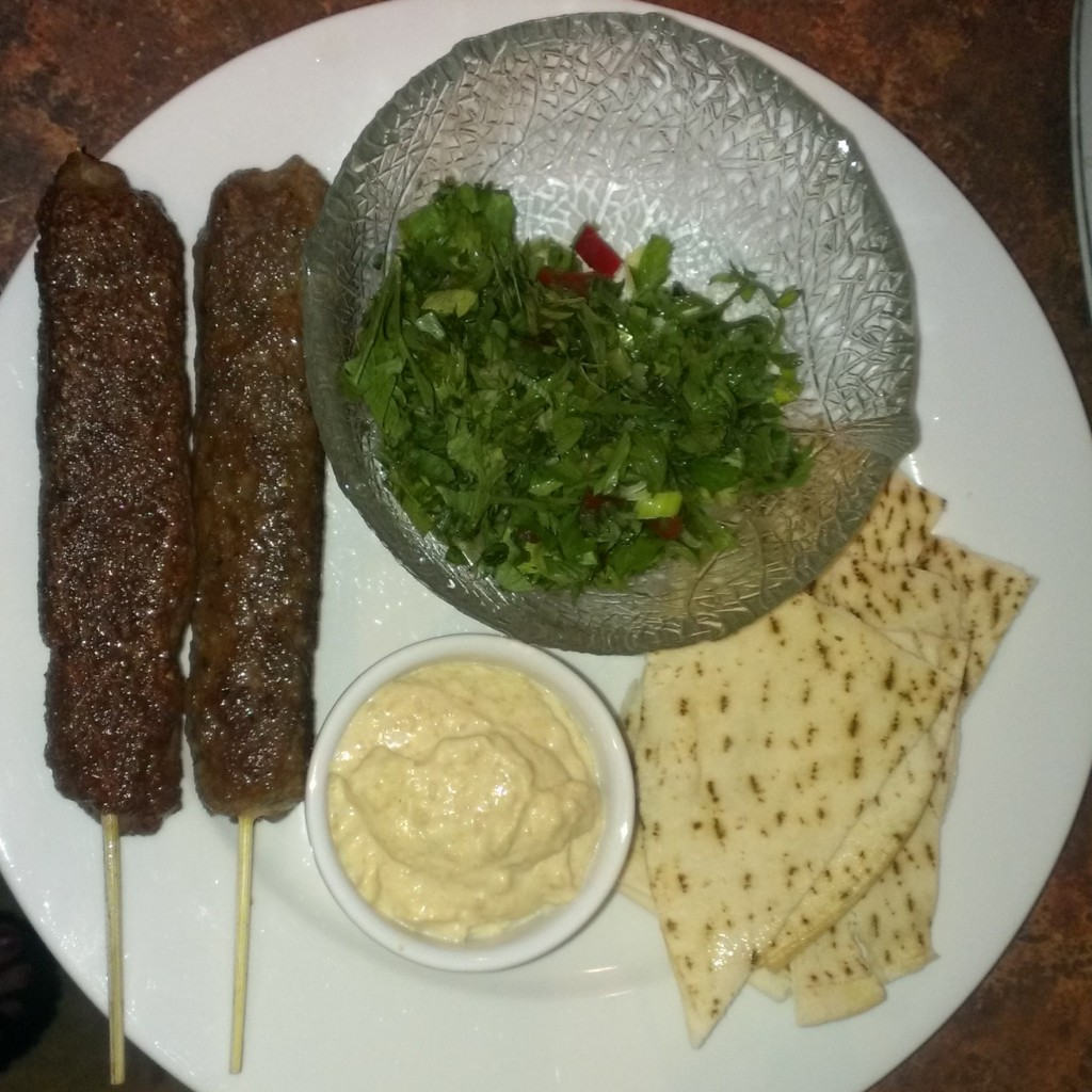 Lamb Koftas, tabouli, home made Hummus, Lebanese bread