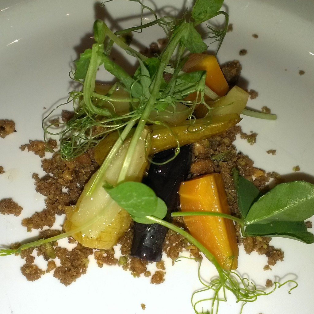 This dish makes my No 2 of the night, Carrots and their earth. Apparently slow cooked for 7 hours in earth. The chef then recreated the bed of soil using nuts and coconut, like a crumble to serve, delicious!