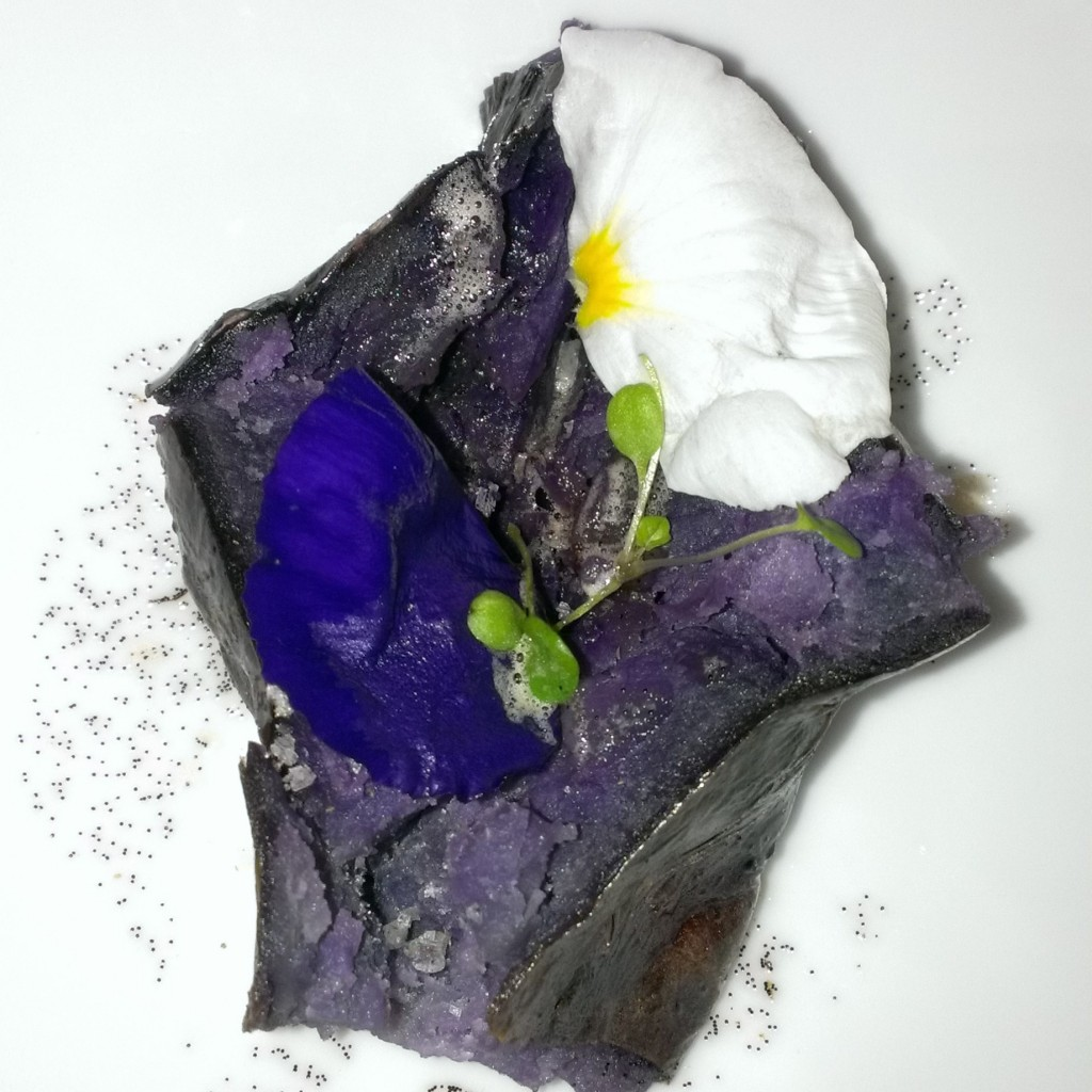 "Called ""V6"" this is purple potato with vanilla oil and vanilla salt."