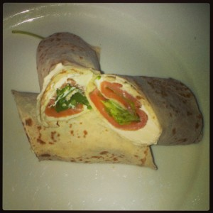My favourite fast and easy lunch this week, smoked salmon, cream cheese and rocket wrap. Delicious.