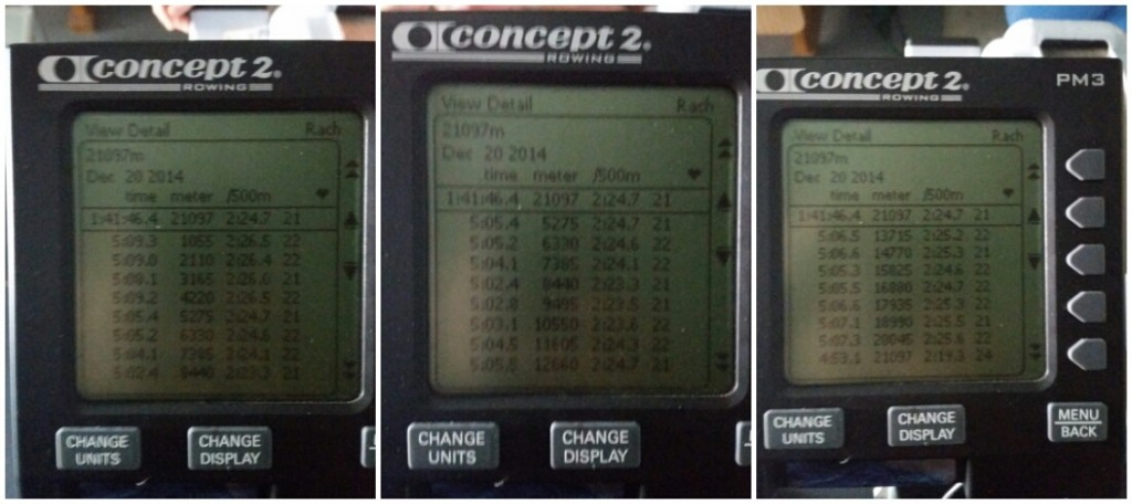 Here are my splits for all you Rowers out there.